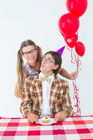 together with long tie: Geeky hipsters celebrating birthday on white background