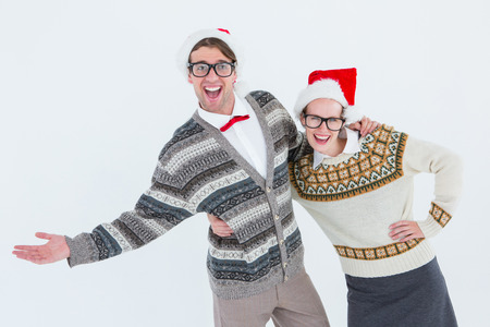 white backgroung: Geeky hipster couple having fun on white backgroung Stock Photo