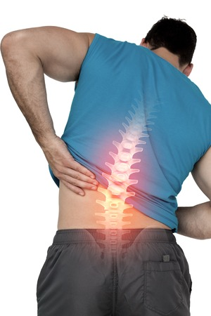 spinal manipulation: Composizione digitale di Evidenziato il mal di schiena di uomo adatto