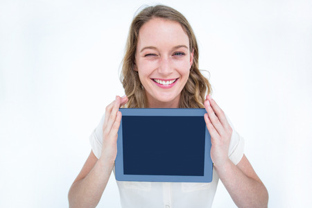 Woman showing tablet pc on white background