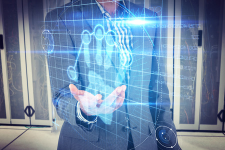 Businessman holding hand out against digital security hand print scan