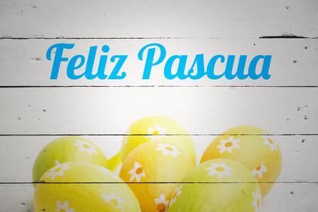 feliz: feliz pasqua against six easter eggs together Stock Photo