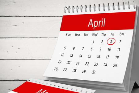 against white: April calendar against white wood Stock Photo