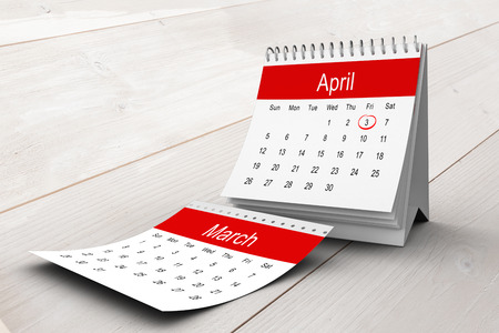 bleached: April calendar against bleached wooden planks background Stock Photo