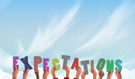 expectations: Hands showing expectations against blue sky