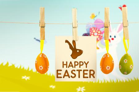 osterhase: Frohe Ostern Grafik gegen Osterhase mit Eiern