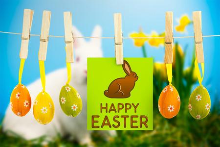 osterhase: Happy Easter Gruß gegen weißen flaumigen Bunny sitzen neben Narzissen mit Ostereiern Lizenzfreie Bilder