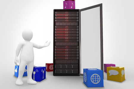 orating: White character orating against app cubes Stock Photo