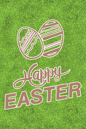 astro: happy easter graphic against astro turf surface