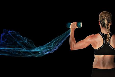 Female bodybuilder holding a blue dumbbell against blue design