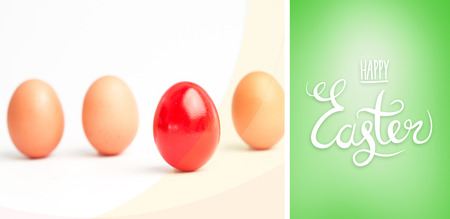 'odd one out': happy easter graphic against green vignette