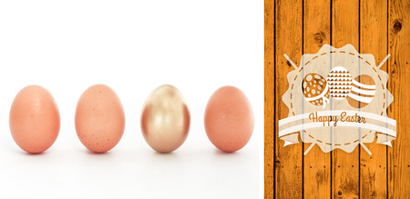 'odd one out': happy easter graphic against wooden planks