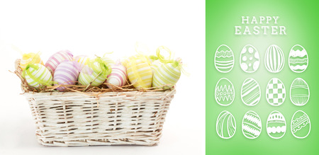 happy easter graphic against green vignette photo
