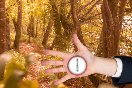 Hand with fingers spread out against tranquil autumn scene in forest photo