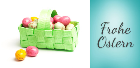 frohe: frohe ostern against blue vignette background