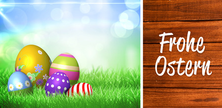 Ostern: Frohe ostern against overhead of wooden planks Stock Photo