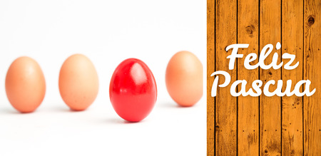 'odd one out': Feliz pascua against wooden planks Stock Photo