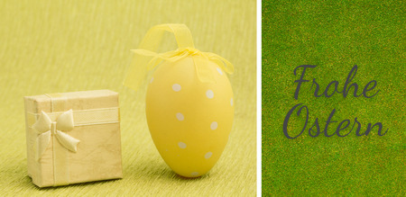 Ostern: Frohe ostern against green background