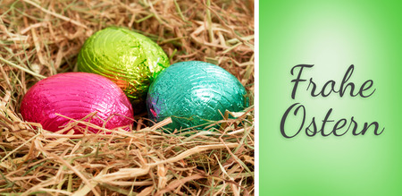 frohe: Frohe ostern against green vignette Stock Photo