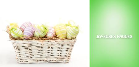 Joyeuses paques against green vignette photo