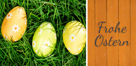 Ostern: Frohe ostern against wooden planks