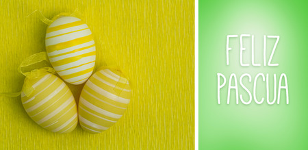 feliz: Feliz pascua against green vignette