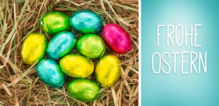 Ostern: Frohe ostern against blue vignette background