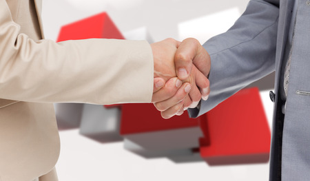 congratulating: Close up of people shaking hands against red tile pattern
