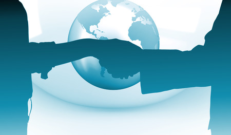 Close up of a business people closing a deal  against planet on grey abstract background photo