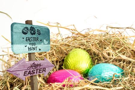 nestled: Easter egg hunt sign against three easter eggs nestled in straw nest Stock Photo