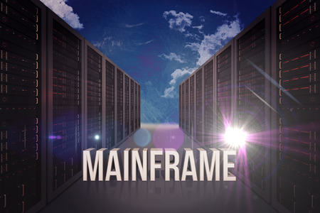 mainframe: mainframe against painted blue sky