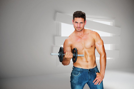 bordered: Attractive bodybuilder against digitally generated room with bordered up window Stock Photo