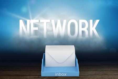 inbox: Blue inbox against network cloud in room