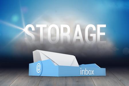 inbox: Blue inbox against storage cloud in room