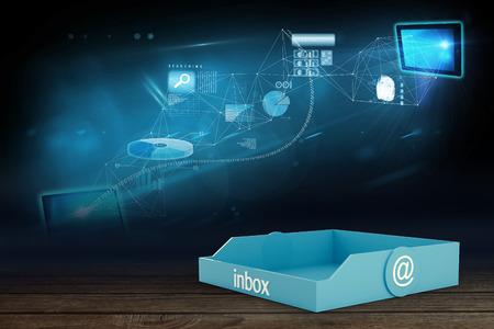 inbox: Blue inbox against data brainstorm in room Stock Photo