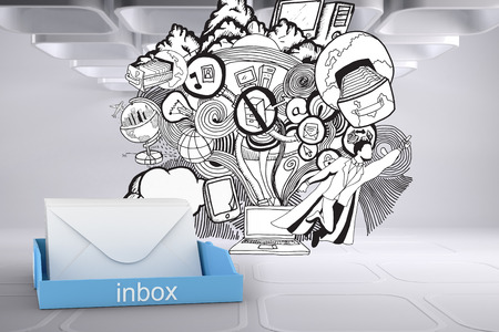 inbox: Blue inbox against drawn illustration on grey abstract background Stock Photo