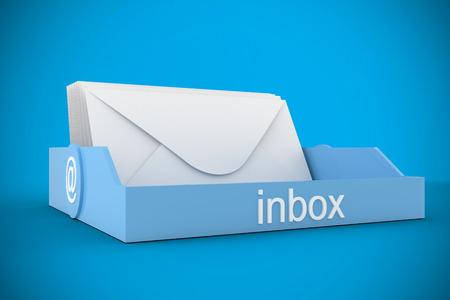 inbox: Blue inbox against blue background with vignette