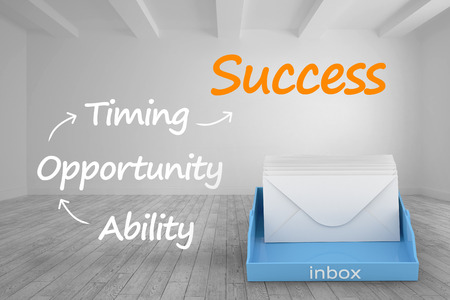 inbox: Blue inbox against plan for success written in bright room Stock Photo