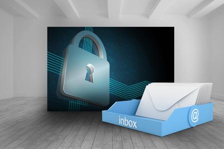 lock  futuristic: Blue inbox against room with futuristic picture of lock