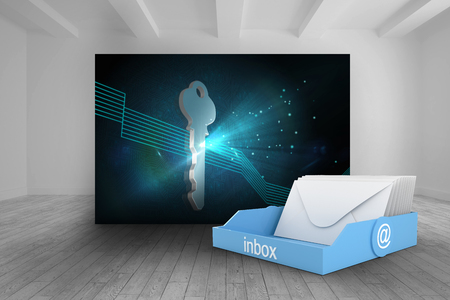 inbox: Blue inbox against room with futuristic picture of key