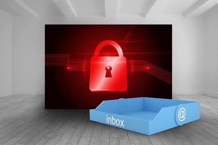 lock  futuristic: Inbox blu contro stanza con immagine futuristico di blocco rosso