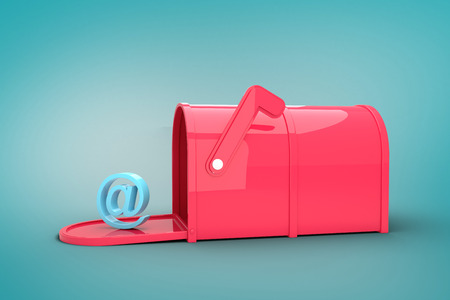 red post box: Red email post box against blue vignette background Stock Photo