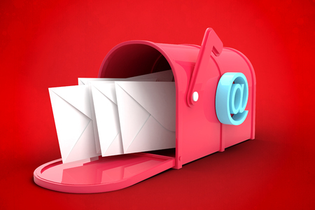 postbox: Red email postbox against red background