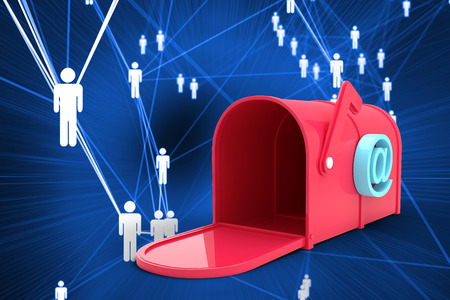 post box: Red email post box against futuristic glowing figures Stock Photo