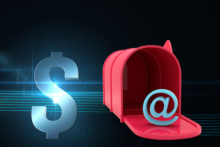 red post box: Red email post box against dollar sign on futuristic background