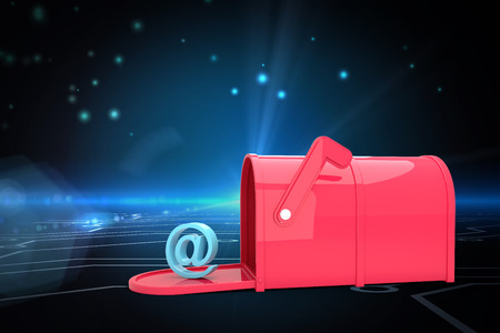 red post box: Red email post box against circuit board on futuristic background