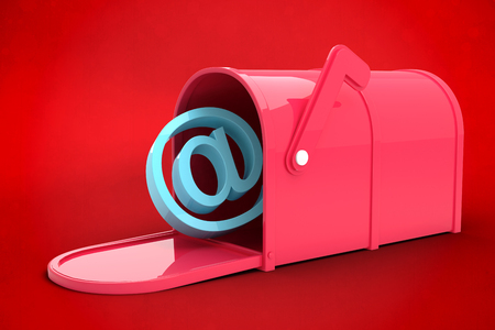 red post box: Red email post box against red background Stock Photo