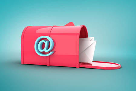 postbox: Red email postbox against blue vignette background Stock Photo