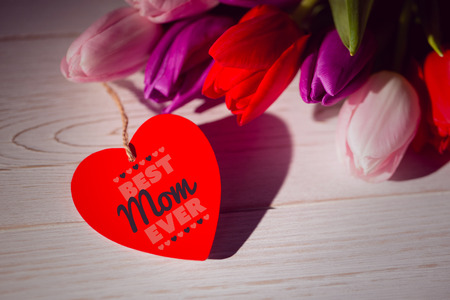 ever: best mom ever against tulips with note