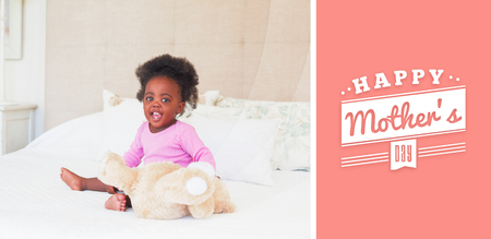 babygro: mothers day greeting against baby girl in pink babygro sitting on bed